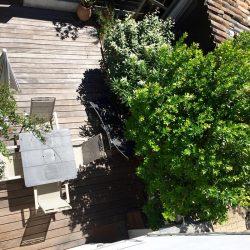 Vue d'en haut de la terrasse du bungalow Villa Caroline au Capt Ferret